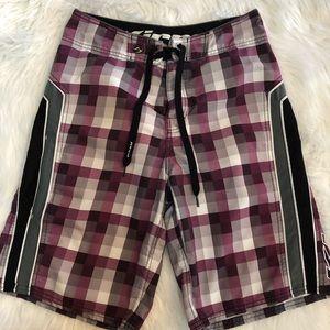 Kirra board shorts plum & gray check size 30